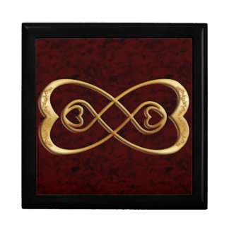 Double Infinity Gold Hearts - Red Marble Design Gift Box