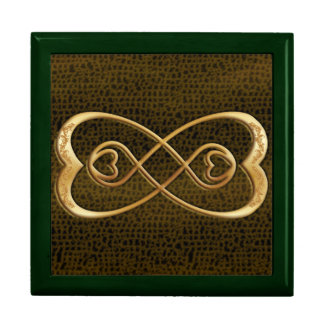Double Infinity Gold Hearts - Snake Skin Design Large Square Gift Box