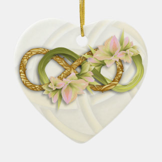 Double Infinity Gold & Pink Cowlilies-White Heart Ceramic Heart Decoration