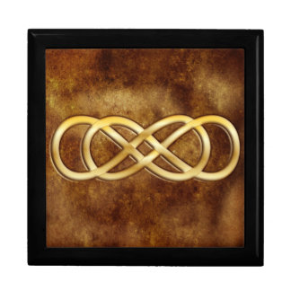 Double Infinity in Gold on Brown Leather Design Large Square Gift Box