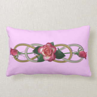 Double Infinity Silver Gold Roses Lumbar Cushion