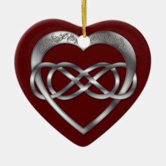 Double Infinity Silver Heart 3 - Ornament