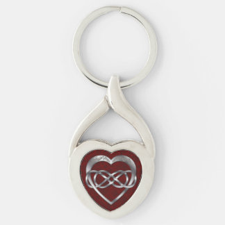 Double Infinity & Silver Heart on Red - Key Chain Silver-Colored Twisted Heart Key Ring