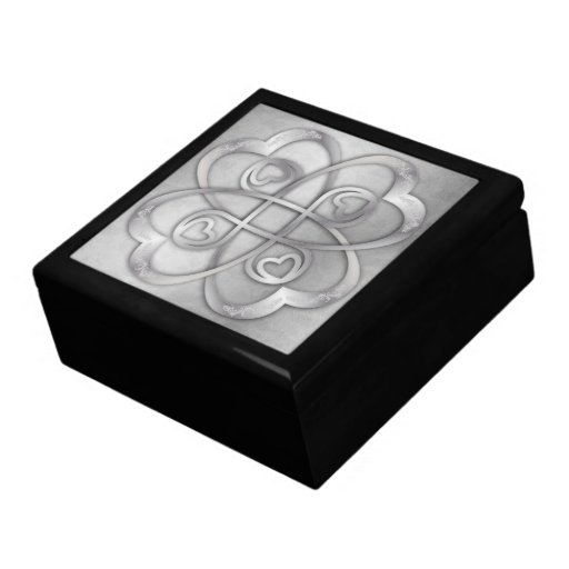Double Infinity Silver Hearts 2 Overlapping Gift Box