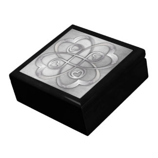 Double Infinity Silver Hearts - 2 Overlapping Large Square Gift Box