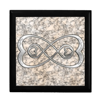 Double Infinity Silver Hearts- White Marble Design Large Square Gift Box