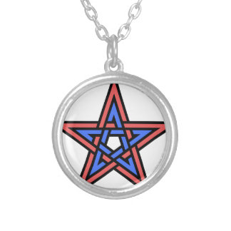 Double-interlaced-pentagram Silver Plated Necklace