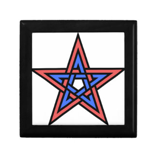 Double-interlaced-pentagram Small Square Gift Box