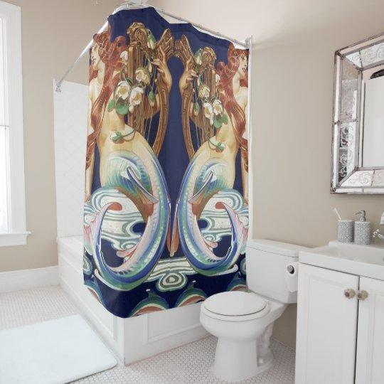 double mermaid shower curtain