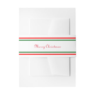 Double Merry Christmas Trim - Belly Band Invitation Belly Band
