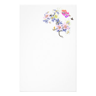 Double Monogram Flaming Hearts with Flowers Stationery