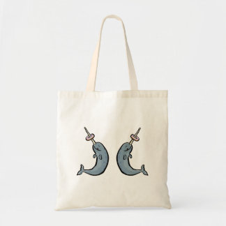 double narwhale and donut tote bag