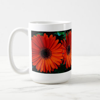 double orange color daisy flowers coffee mugs