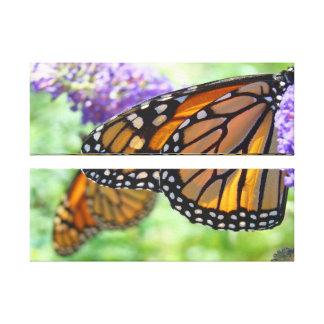 Double Panel Canvas Nature art Monarch Butterflies Stretched Canvas Print