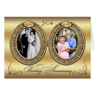 Double Photo 50th Anniversary Invitation Card