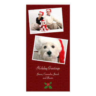 Double Photo Family Holiday Christmas Photo Card