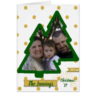 Double Pine Modern Photo Christmas Blessings Card