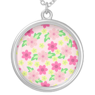 Double Pink Flowers Custom Necklace