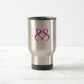 Double Pink Ribbon Breast Cancer Heart Travel Mug
