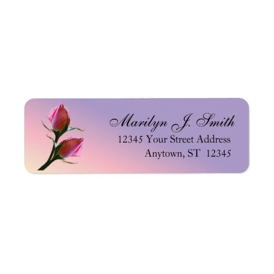 Double Pink Roses On Purple Return Address Label