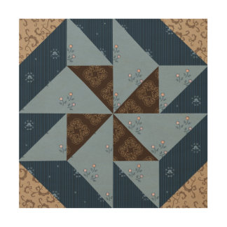 Double Pinwheel Quilt Block Wood Panel Wall Art