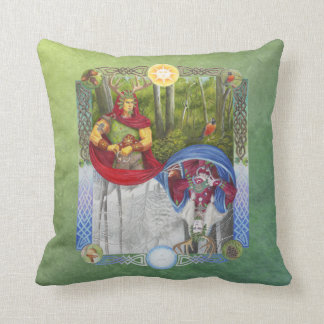 Double Portrait of the Oak King and Holly King Throw Pillow
