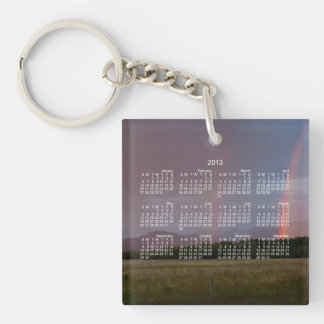 Double Rainbow; 2013 Calendar Single-Sided Square Acrylic Key Ring