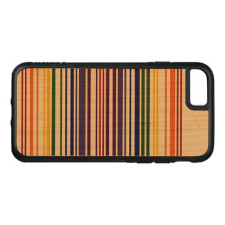 Double Rainbow Barcode on Natural Wood Carved iPhone 8/7 Case