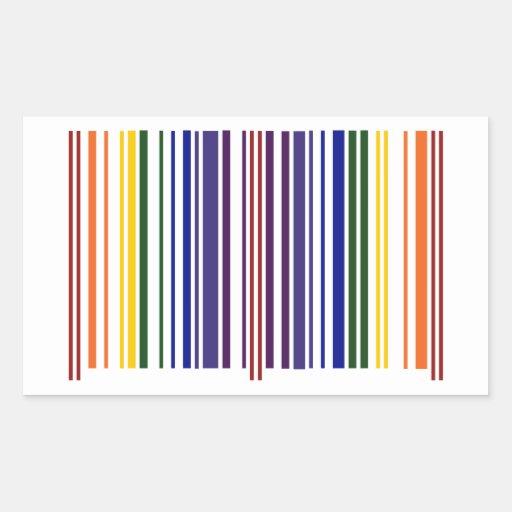Double Rainbow Barcode Rectangular Stickers