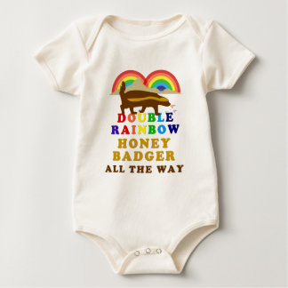 Double Rainbow Honey Badger All The Way Baby Bodysuit
