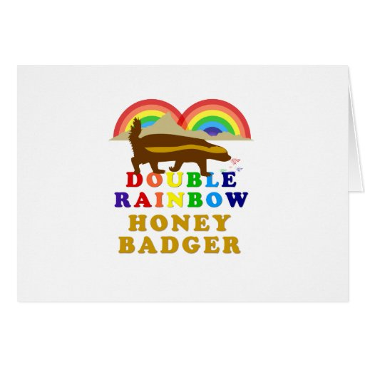 Double Rainbow Honey Badger Greeting Cards