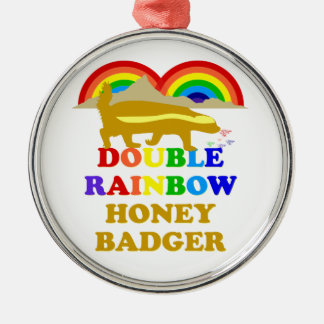 double rainbow honey badger Silver-Colored round decoration