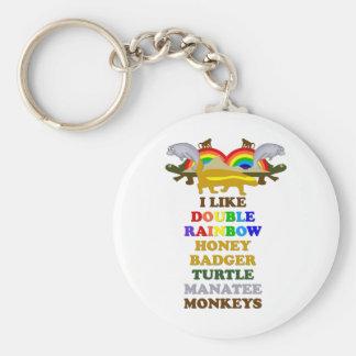 Double Rainbow Honey Badger Turtle manatee monkeys Key Ring