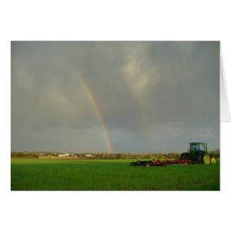 Double Rainbow in Farmfield Card