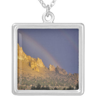 Double rainbow over a rock formation near Smith Square Pendant Necklace