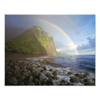 Double rainbow over the cliffs of the North Art Photo
