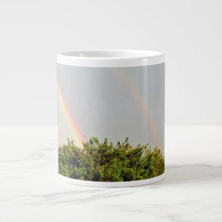Double Rainbow Photo with sky and trees Large Coffee Mug