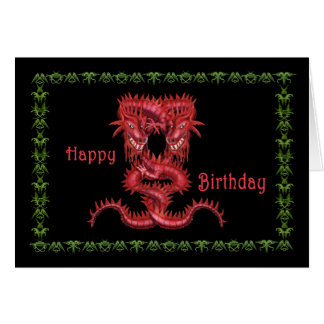 Double Red Dragon Birthday Card