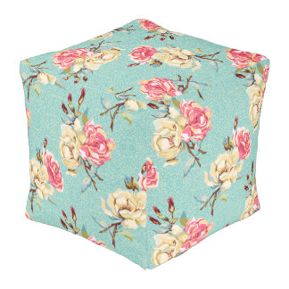 Double Rose - aqua -  Cubed Pouf
