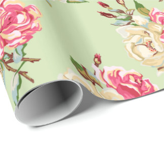 Double Rose - green Wrapping Paper