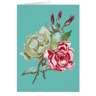 Double Rose on Teal Greeting Card - blank inside