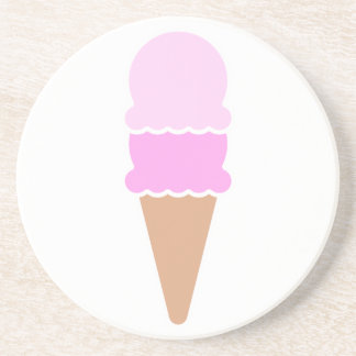 Double Scoop Ice Cream Cone - Pinks Beverage Coasters