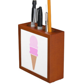 Double Scoop Pink Ice Cream Cone Desk Organiser