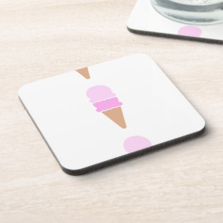Double Scoop Pink Ice Cream Cone Drink Coaster