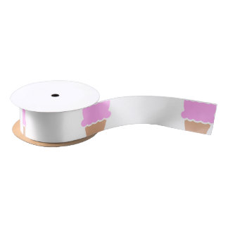 Double Scoop Pink Ice Cream Cone Satin Ribbon