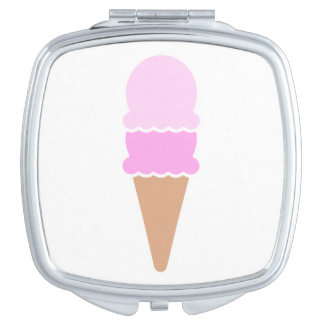 Double Scoop Pink Ice Cream Cone Travel Mirrors