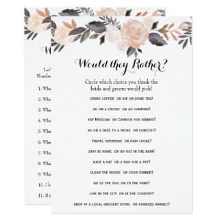 Double Side Bridal Shower Games- Groom Say  Rather Card
