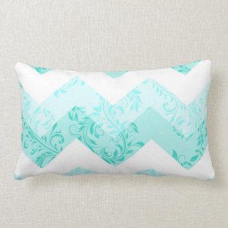 Double-sided Aqua damask chevron lumbar pillow