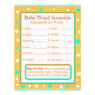 Double Sided Baby Shower Games Flyer