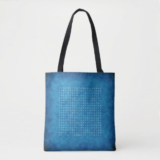 Double Sided Blue Tote with a Word Search Puzzle